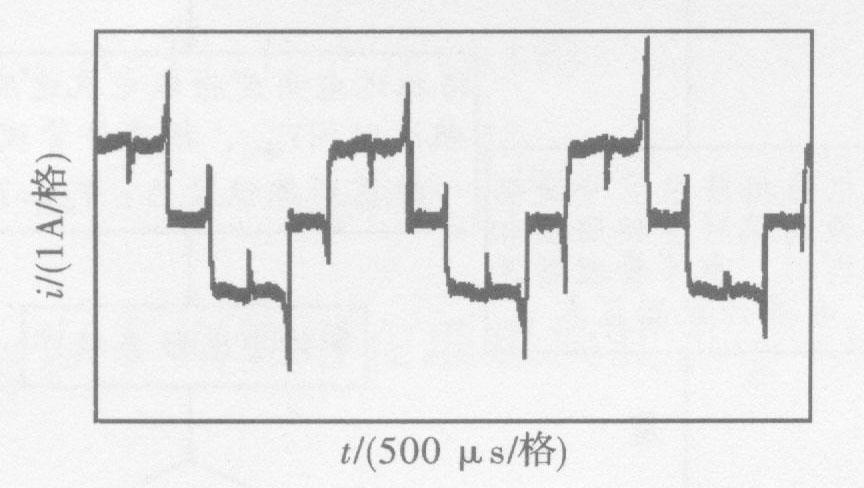 图8无软件补偿时的绕组电流波形图(25 000 r/min)
